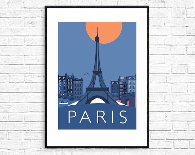 SECONDS SALE - PARIS Eiffel Tower, Arc de Triomphe - Travel Poster - Art Deco - Illustration by Rebecca Pymar