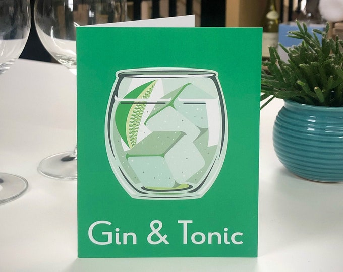 GIN AND TONIC Greetings Card - Cocktail Card - Art Deco