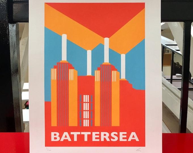 BATTERSEA POWER STATION Limited Edition Screen Print - London Print - Art Deco - by Rebecca Pymar