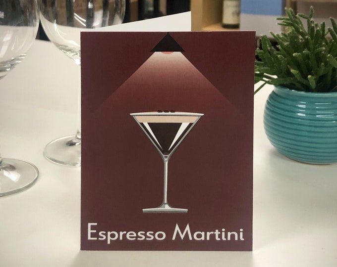 ESPRESSO MARTINI Greetings Card - Cocktail Card - Art Deco