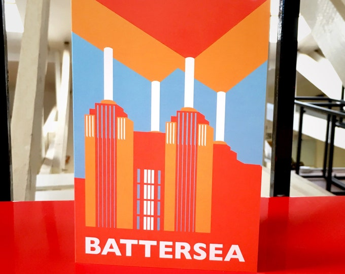 BATTERSEA Power Station LONDON Travel Poster Style Greetings Card by Rebecca Pymar