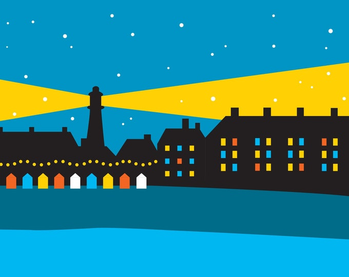Southwold Lighthouse Christmas Card by Rebecca Pymar - 'Merry Christmas!'