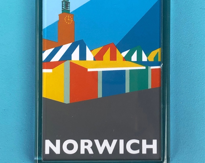 NORWICH MARKET and Town Hall Travel Poster Style Fridge Magnet by Rebecca Pymar