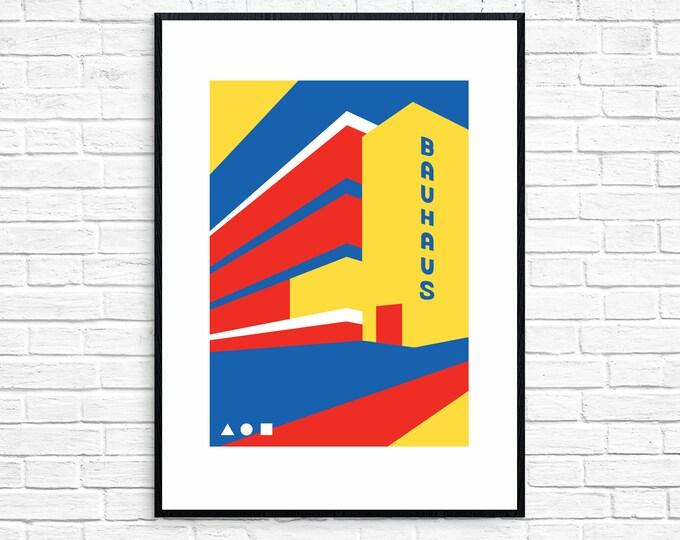 BAUHAUS Travel Poster - BAUHAUS 100 - Modernist - Illustration by Rebecca Pymar - contemporary print - modernism - architecture - design