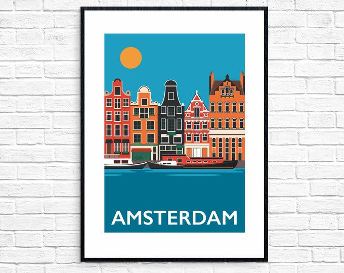 Amsterdam Travel Poster - Holland Print - Amsterdam Canal -  The Netherlands - Art Deco Print - Illustration by Rebecca Pymar