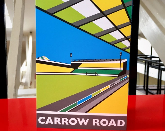 CARROW Road Travel Poster Style Greetings Card by Rebecca Pymar