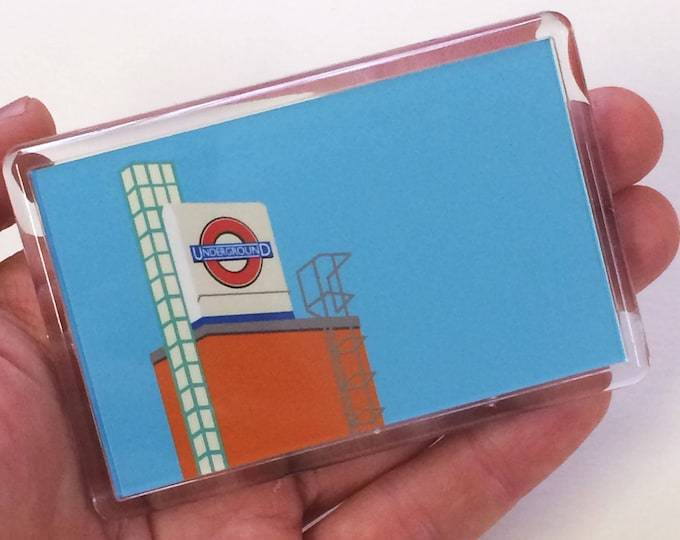 LONDON Underground Fridge magnet from the 'Art Deco Tube Stations' Collection by Rebecca Pymar