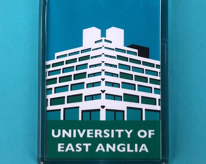 UNIVERSITY of EAST Anglia - UEA - Ziggurats - Travel Poster Style Fridge Magnet by Rebecca Pymar