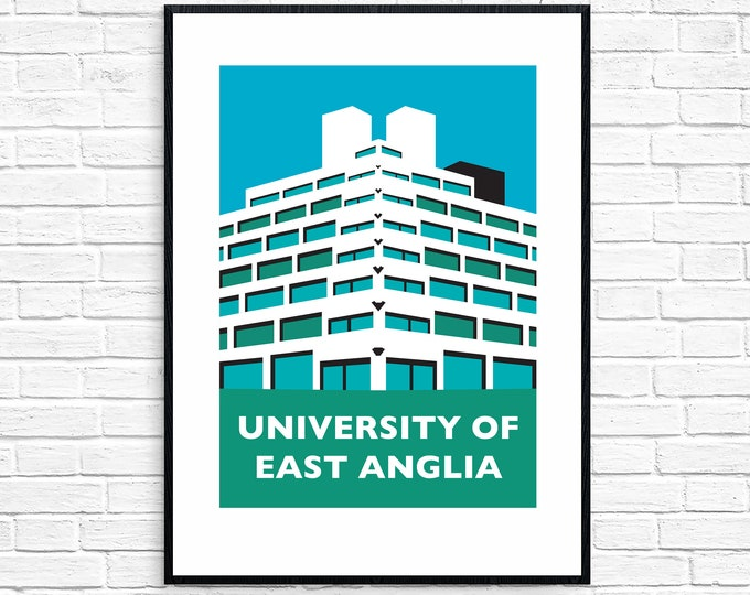 SECONDS SALE University of East Anglia Ziggurats Travel Poster - Norwich UEA - Brutalist Architecture Print - Illustration by Rebecca Pymar