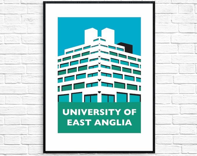 University of East Anglia ZIGGURATS Travel Poster - NORWICH UEA - Brutalist Architecture Print - Illustration by Rebecca Pymar