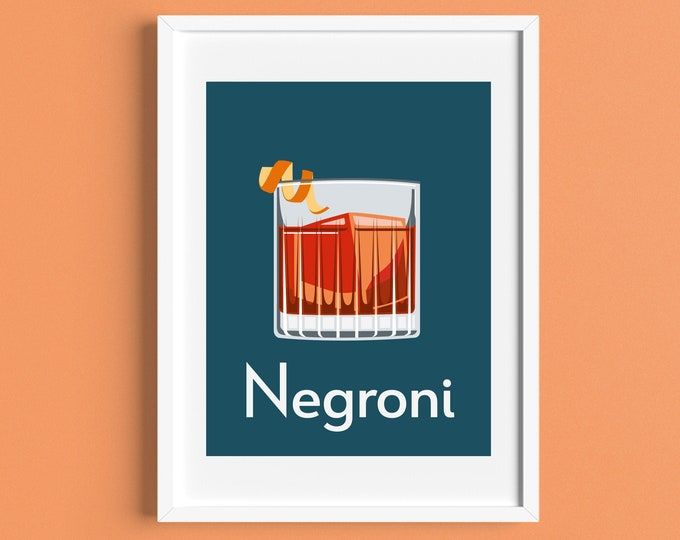 NEGRONI COCKTAIL A4 Print