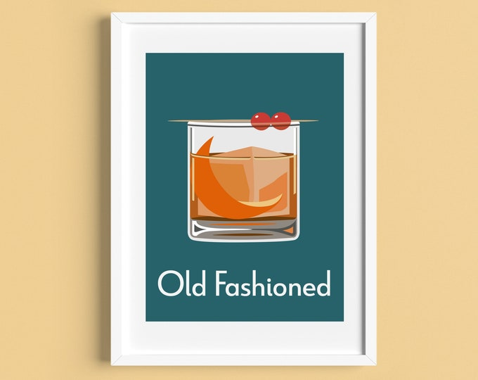 OLD FASHIONED COCKTAIL A4 Print