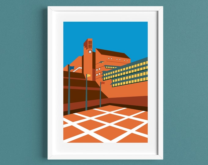 The BRITISH LIBRARY - Travel Poster - LONDON - Brutalism - Illustration by Rebecca Pymar