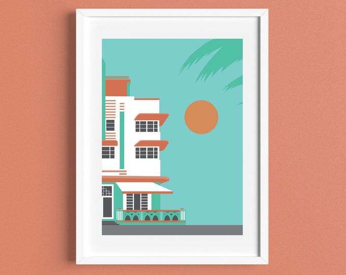 MIAMI BEACH House Print - USA - Art Deco Print - Ocean Drive - Florida - Illustration by Rebecca Pymar