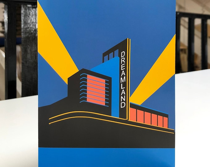 DREAMLAND - MARGATE Travel Poster Style Greetings Card by Rebecca Pymar