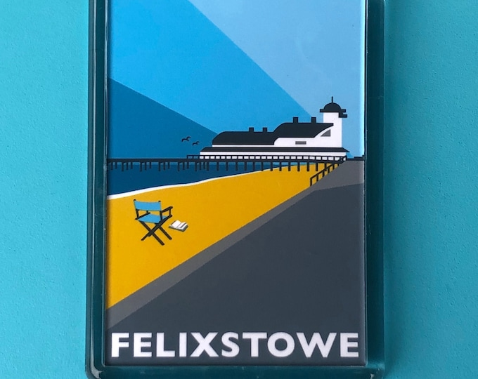FELIXSTOWE PIER Travel Poster Style Fridge Magnet by Rebecca Pymar