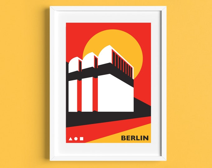Berlin Travel Poster - Bauhaus-Archiv Museum - Germany - Bauahus Print - Illustration by Rebecca Pymar
