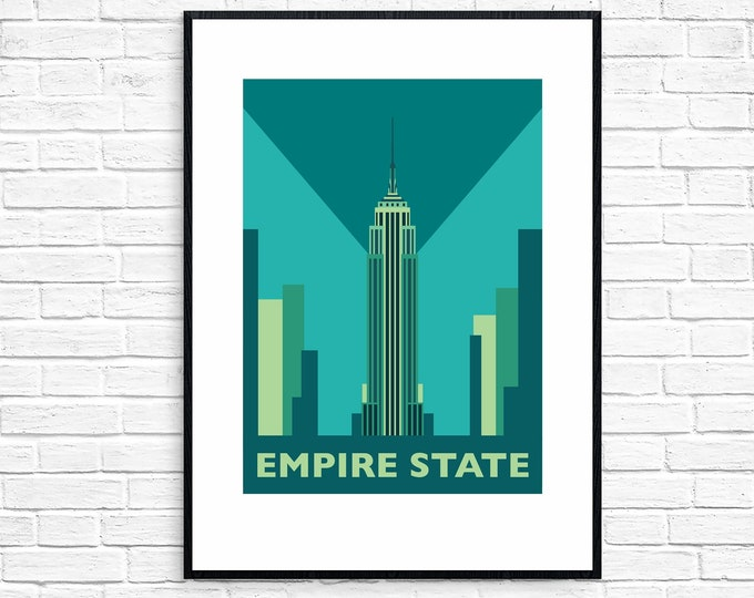 EMPIRE STATE Building - Travel Poster - Art Deco - Illustration by Rebecca Pymar