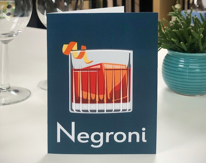 NEGRONI Greetings Cards - Cocktail Card - Art Deco