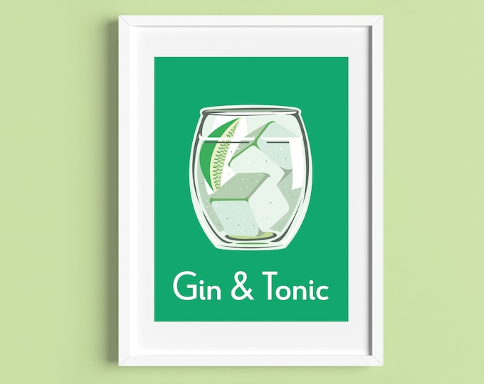 GIN AND TONIC Cocktail A4/A5 Print