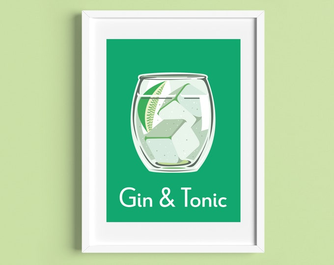 GIN AND TONIC Cocktail A4 Print