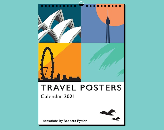 2021 TRAVEL POSTER CALENDAR - Limited Edition by Artist Rebecca Pymar