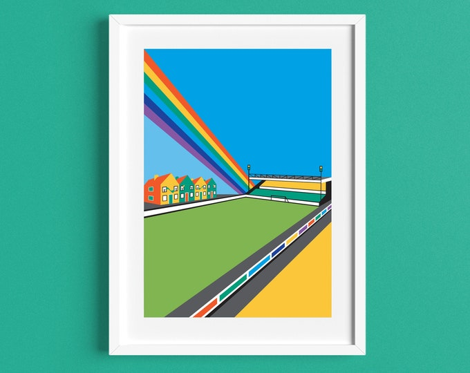 CARROW ROAD Limited Edition FA Cup Print - Norwich City Football Club Stadium - Art Deco Print - Illustration by Rebecca Pymar