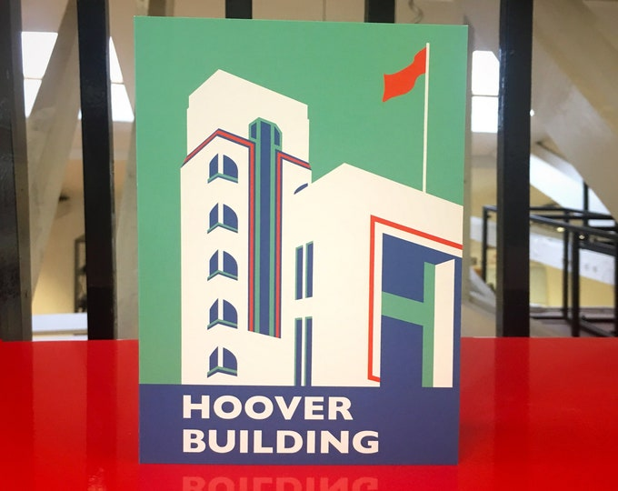 HOOVER Building LONDON Travel Poster Style Greetings Card by Rebecca Pymar
