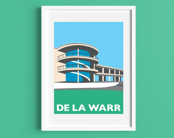 DE LA WARR Pavilion Travel Poster - Bexhill on Sea - Art Deco Print - Illustration by Rebecca Pymar