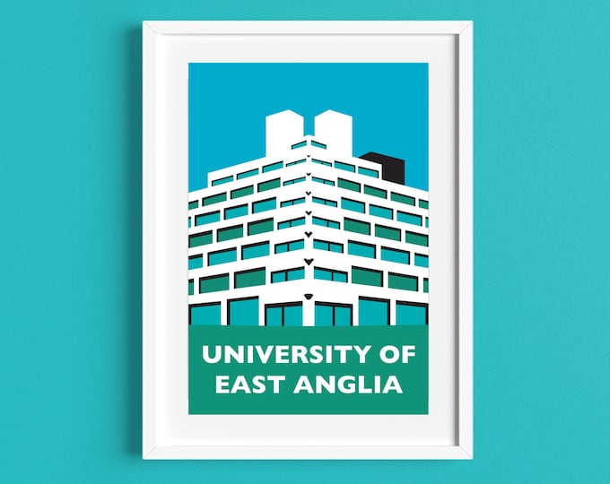 University of East Anglia ZIGGURATS Travel Poster - NORWICH UEA - Brutalist Architecture Print - Illustration by Rebecca Pymar