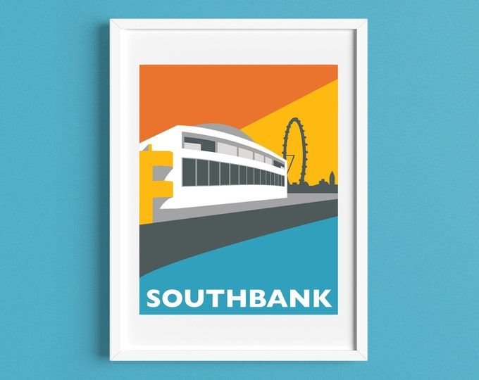 LONDON SOUTHBANK Travel Poster - Royal Festival Hall - London Eye - Art Deco - Illustration by Rebecca Pymar