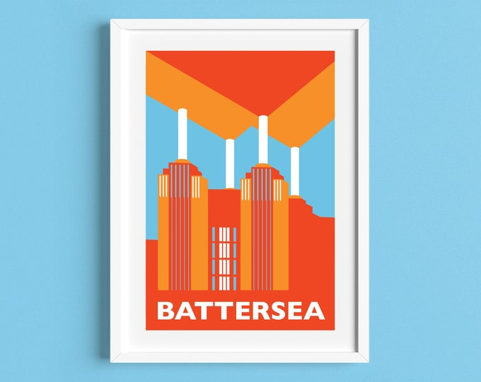 BATTERSEA POWER STATION Travel Poster - London Print - Art Deco - Illustration by Rebecca Pymar