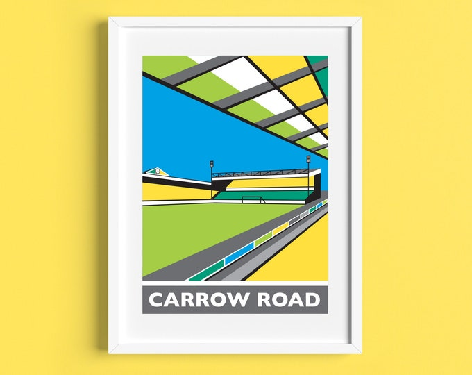 CARROW ROAD Travel Poster - Norwich City Football Club Stadium - Art Deco Print - Illustration by Rebecca Pymar