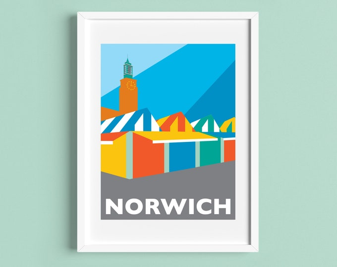 NORWICH Travel Poster - NORWICH MARKET - Art Deco Print - Illustration by Rebecca Pymar