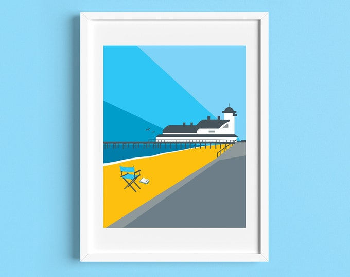 FELIXSTOWE PIER Travel Poster - Art Deco Print - Illustration by Rebecca Pymar