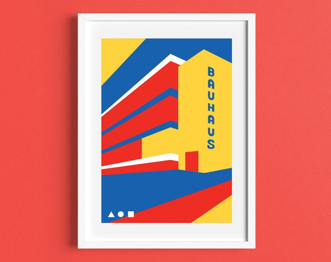 BAUHAUS Travel Poster - BAUHAUS 100 - Modernist - Illustration by Rebecca Pymar - contemporary print - modernism - architecture - design