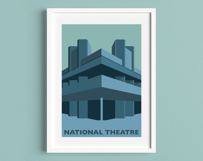 NATIONAL THEATRE Travel Poster - Southbank - Waterloo - Brutalist / Brutalism - Illustration by Rebecca Pymar