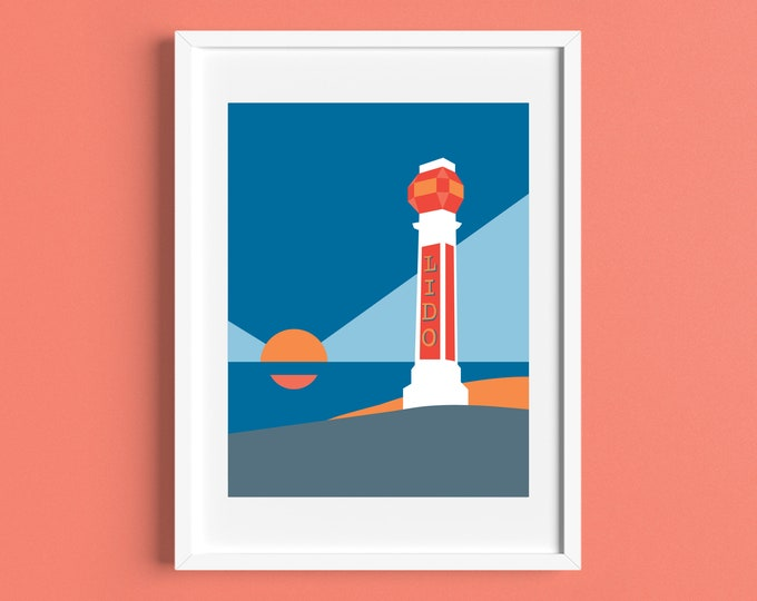 LIDO Travel Poster - Margate - Art Deco Print - Illustration by Rebecca Pymar