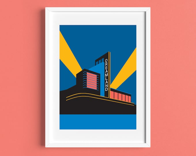 DREAMLAND Travel Poster - Margate - Art Deco Print - Illustration by Rebecca Pymar