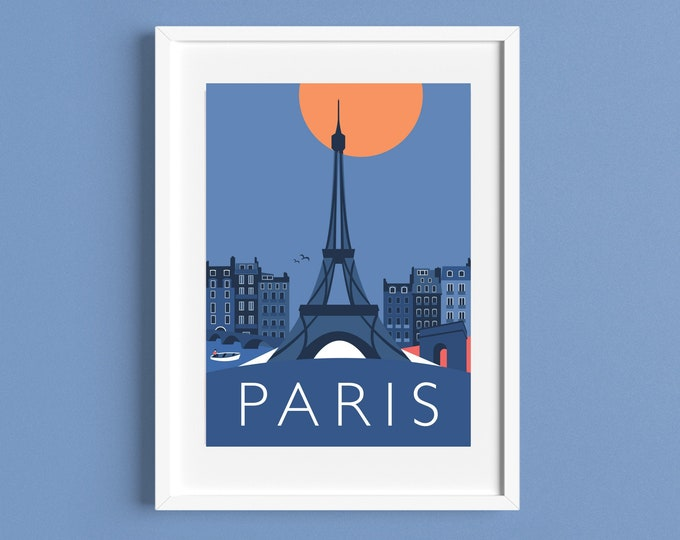 PARIS Eiffel Tower, Arc de Triomphe - Travel Poster - Art Deco - Illustration by Rebecca Pymar