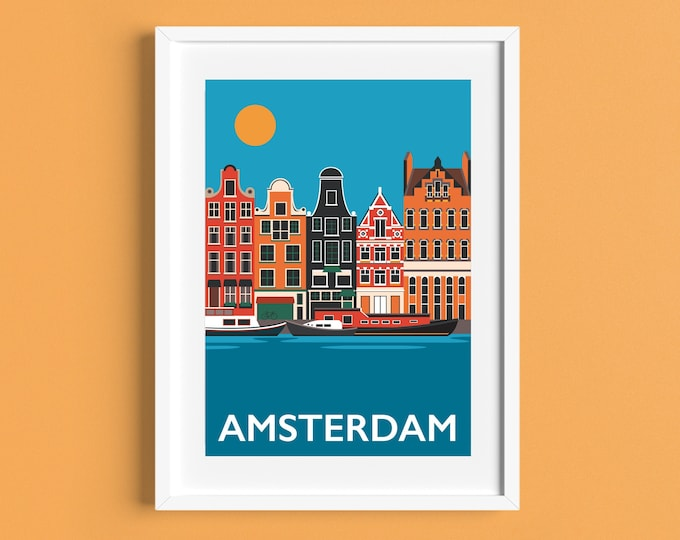 Amsterdam Travel Poster - Holland Print - Amsterdam Canal -  The Netherlands - Art Deco Print - Illustration by Rebecca Pymar