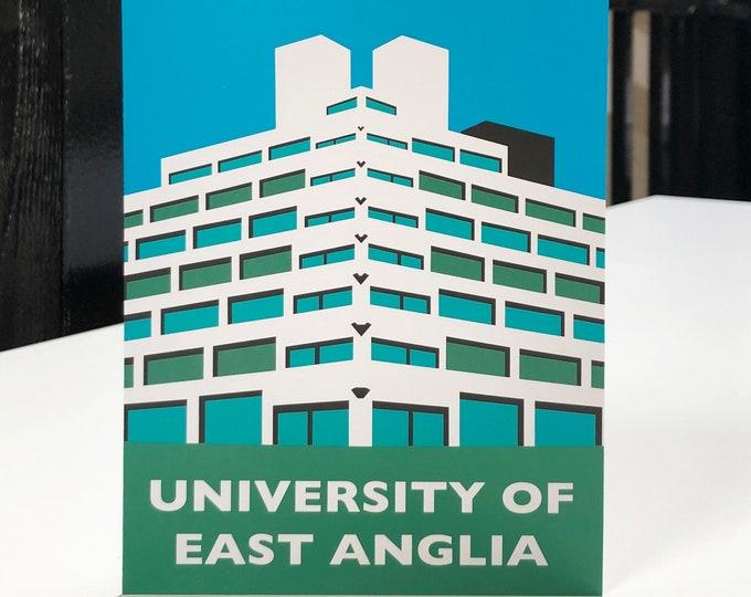 UNIVERSITY of East Anglia - UEA - Ziggurats - Travel Poster Style Greetings Card by Rebecca Pymar