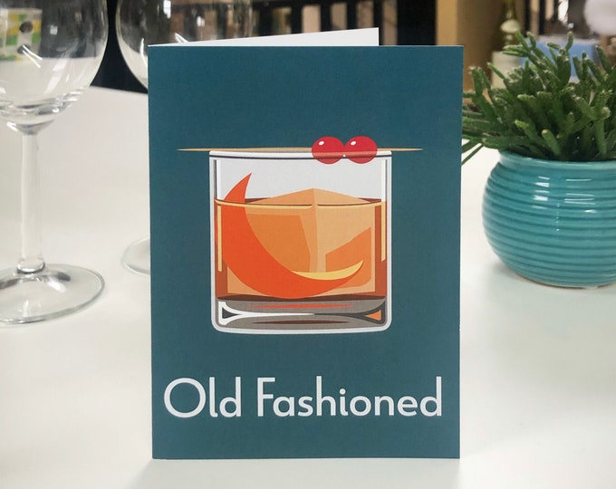OLD FASHIONED Greetings Card - Cocktail Card - Art Deco