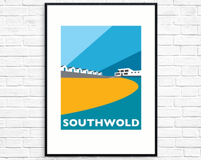 SOUTHWOLD Travel Poster - Beach huts and Southwold Pier - Art Deco Print - Illustration by Rebecca Pymar