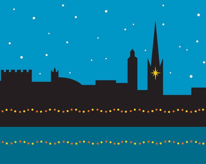 Slight Seconds** NORWICH Cityscape Christmas Card - pack of 6 Cards - by Rebecca Pymar