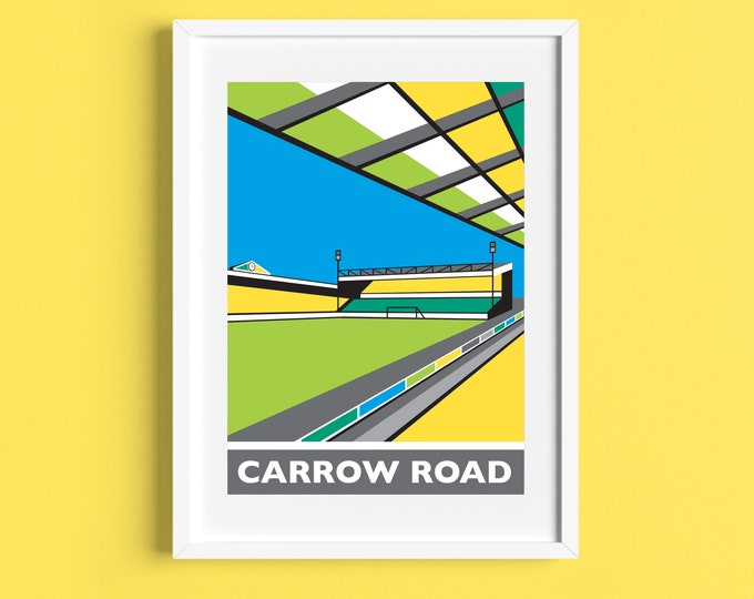 CARROW ROAD Travel Poster - Norwich City Football Club Stadium - Art Deco Print - Illustration by Rebecca Pymar