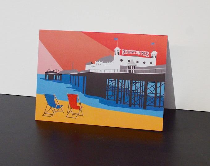Brighton Pier themed Artists Greetings Card by Rebecca Pymar