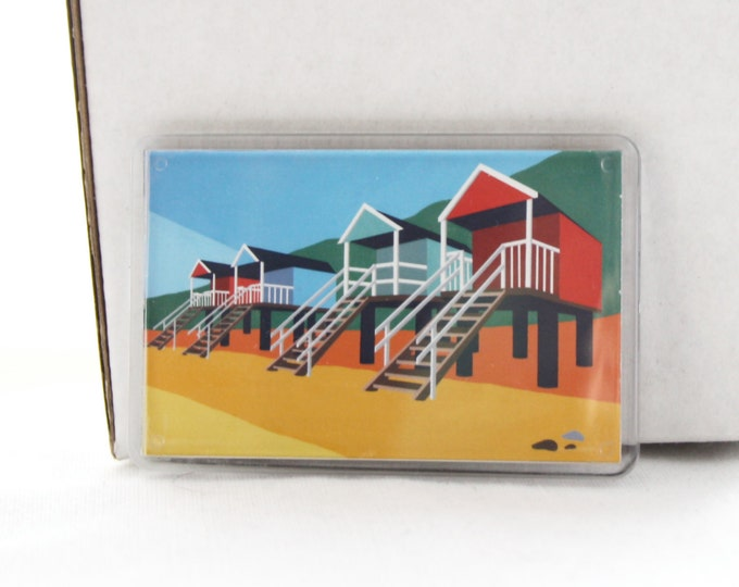 Beach hut themed Fridge magnet 'Wells Beach huts' by Rebecca Pymar