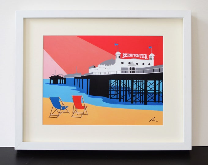 BRIGHTON PIER themed Mounted Fine Art Print - British Seaside - Art Deco - Travel Poster - by Rebecca Pymar