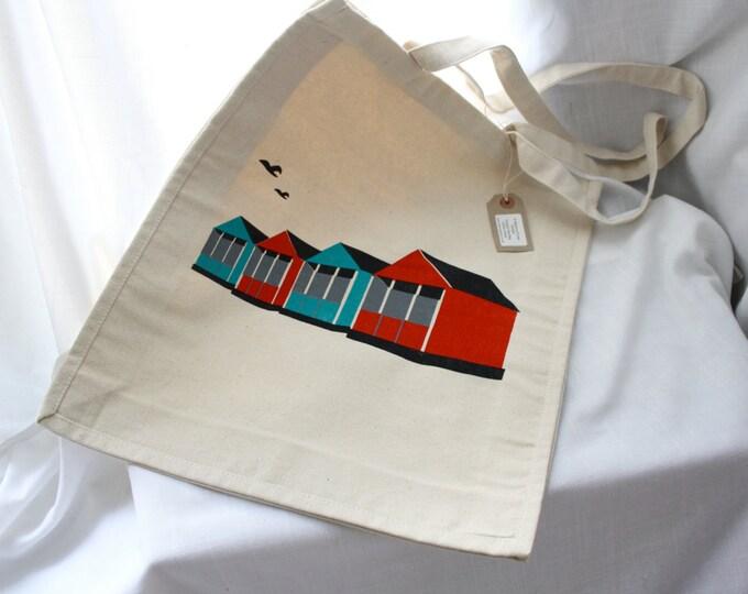 Beach hut themed canvas bag, screen printed